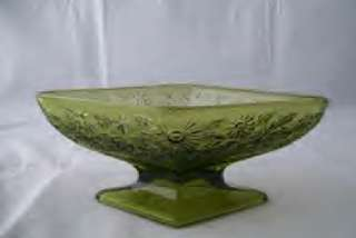 INDIANA GREEN GLASS DIAMOND SHAPE PEDISTAL CANDY DISH