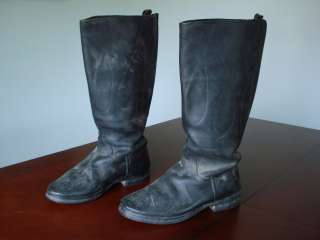 Vintage Motorcycle Tall Black Leather Riding Engineer Mens Boots Size