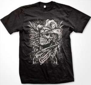 Outlaw Cowboy Skull Mens T shirt Pistols Guns Bandana Western Country