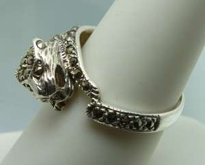 Big Cat Panther Marcasite Studded Sterling Silver Wrap Ring 8 Tiger