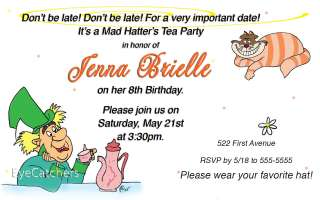 Personalized Mad Hatter Tea Birthday Party Invitations