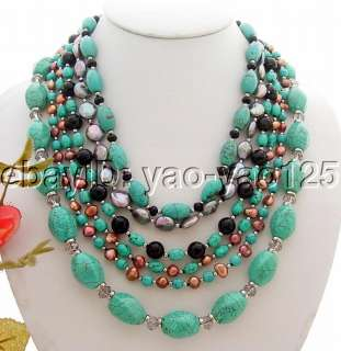 Amazing 6Strds Pearl&Turquoise&Onyx Necklace