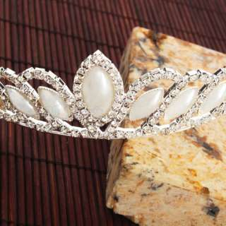 Waterdrop Style Man Made Pearl Rhinestone Tiara Crown Headband