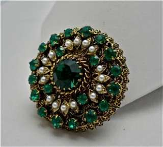 Vintage Green Rhinestone and Faux Pearl Brooch Pin  unsigned Austria