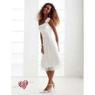line One Shoulder Tea length Satin Wedding Dress