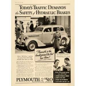 1935 Ad Vintage Plymouth Cars Hydraulic Brakes Chrysler
