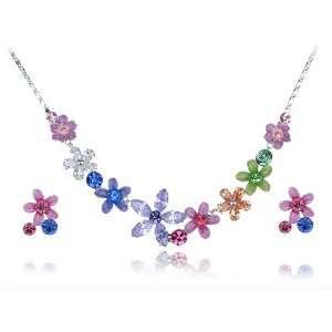 Swarovski Crystal Element Enamel Flower Link Earring Necklace Set