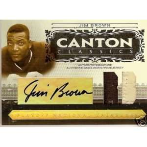 06 Playoff JIM BROWN Game Worn 2 color Patch/Auto #d/25   Sports