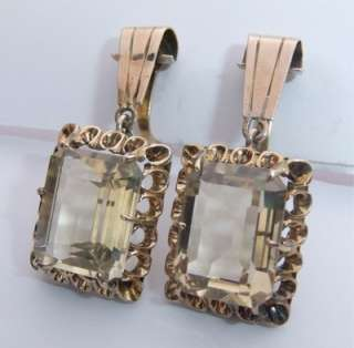 VINTAGE 14K SOLID ROSE GOLD CANARY YELLOW CITRINE DANGLE EARRINGS