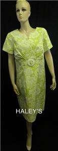 New Jessica H. Woman Green White Floral Print Dress Plus Size 14W, 18W