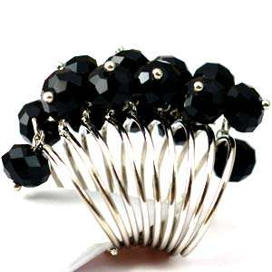 Mystic Black Crystal Glass Beads Cooktail Ring Fashion Jewelry