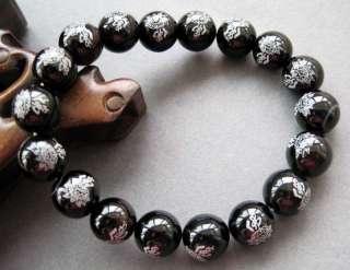 Black Agate Gem Beads Tibet Buddhist Prayer Wrist Mala