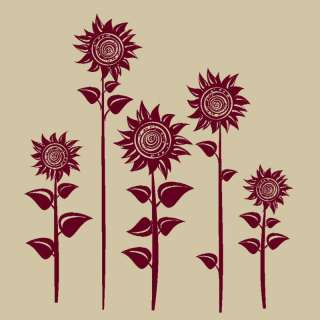 SUN FLOWER WALL ART STICKER DECAL huge removable vinyl uk FL38