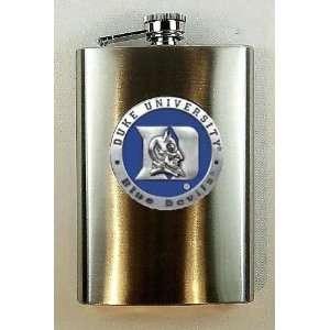 Duke University Blue Devils 8 oz Stainless Flask with Enamel & Pewter