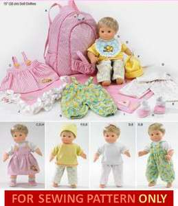 SEWING PATTERN MAKE BITTY BABY/TWINS CLOTHES DOLL CARRIER~ FITS 15