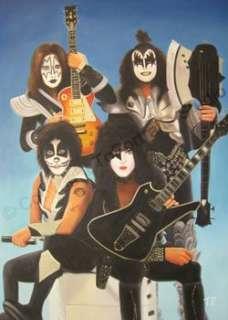Kiss Rock Band   Original Canvas CD Photo Oil Painting