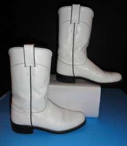 L3086 Women 10 White Kipskin Roper Western Boots Size 5B