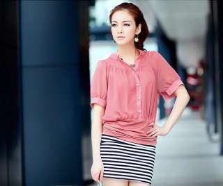 Blouse Ruffle Hem Ruched Puff Sleeve Botton up Top Office