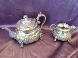 WEST AND SON 1894 STERLING SILVER IRISH TEA POT & CREAMER W REPOUSSE