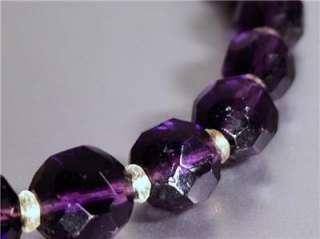 DEEP AMETHYST CZECH GLASS OPERA LENGTH NECKLACE purple violet