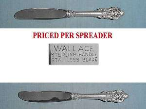 WALLACE STERLING BUTTER SPREADERS ~ GRANDE BAROQUE