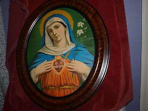 ANTIQUE SACRED HEART BLESSED MARY PRINT IN OVAL GLASS FRONT FRAME