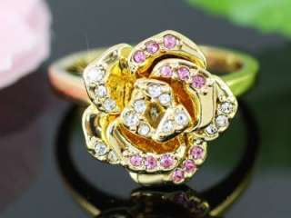 Gold Plated Rose Ring use Swarovski Crystal SR098