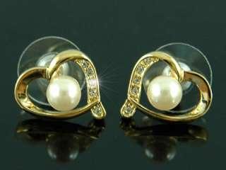 Heart Gold Plated Earrings use Swarovski Crystal SE145