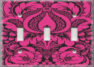 Light Switch Plate Cover   Pink And Black   Damask Design