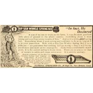 1904 Vintage Ad Rip Van Winkle Spring Bed Antique 25 High