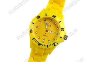 Summer Plastic Wrist Watch Men Women Lady Wristwatch 6 colors