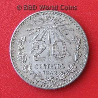 MEXICO 1942 20 CENTAVOS SILVER VF 19mm coin KM#438