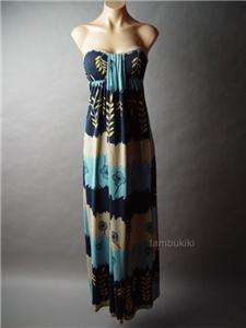 COLOR BLOCK Leaf Nature Motif Long Maxi fp Dress M