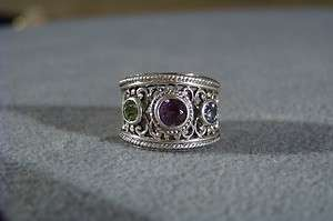 SILVER AMETHYST BLUE TOPAZ PERIDOT ETRUSCAN BAND RING 6