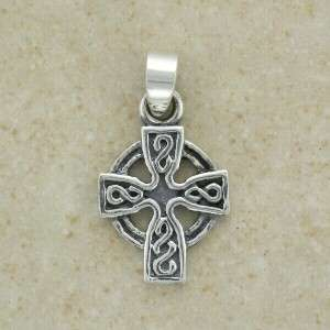 Sterling Silver Small Celtic High Cross Pendant   Irish Made   with 16