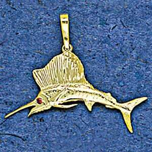 Mark Edwards 14K Gold 30MM Sail Fish with 1.5MM Ruby Eye
