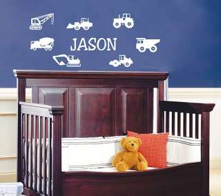 Construction Cars Custom Name Vinyl Wall Decal Art #038