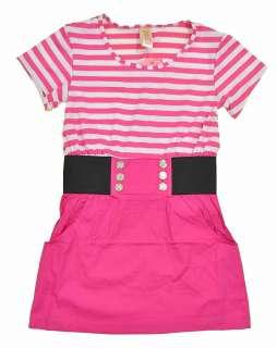 Girls S/S Pink & White Striped Dress Size 7/8 10/12 14/16