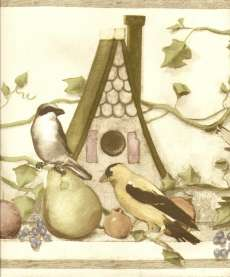 COUNRY IVY BIRDS HOUSES & FRUI Wallpaper bordeR Wall |