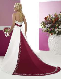 Red Train Embroidery Bride Wedding Dress Lace up Back Size 6 16