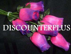 HOT PINK PURPLE TIP WOOD ROSES ART WOODEN ARTIFICIAL FLOWER BUL K
