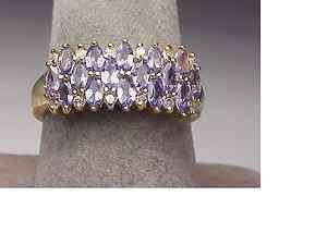 14K Yellow Gold Tanzanite Diamond Band Ring