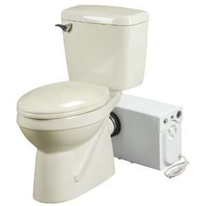Toilet System, Includes Toilet and Pump, Bone