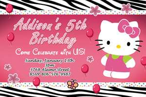 HELLO KITTY ZEBRA BIRTHDAY PARTY INVITATION 1ST BABY SHOWER CARD