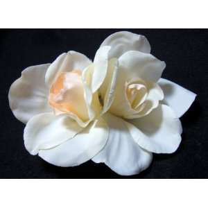 Real Touch Ivory Gardenia Flower Hair Clip and Pin