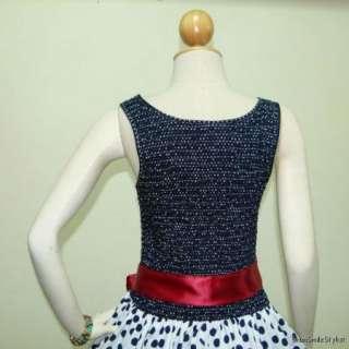 Smart Blue & White Polka Dot 50s PIN UP ROCKABILLY SWING DRESS Full