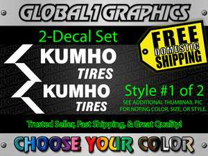 KUMHO TIRES DECAL STICKER SET OF 2 BUYER CHOOSES COLOR