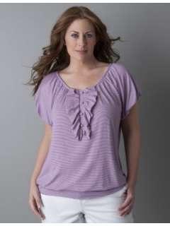 LANE BRYANT   Ruffle stripe knit