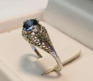 ART DECO 18K WHITE GOLD .60cttw NATURAL SAPPHIRE RING *