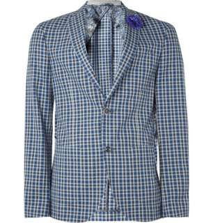 Clothing  Blazers  Single breasted  Unlined Checked